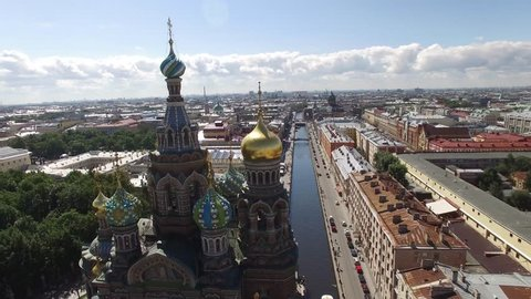 Unique aerial view of Church of the Savior on Spilled Blood. Russia, St. Petersburg from above. Best Drone FPV quadcopter footage. Close view. Sunny day. 4K video.