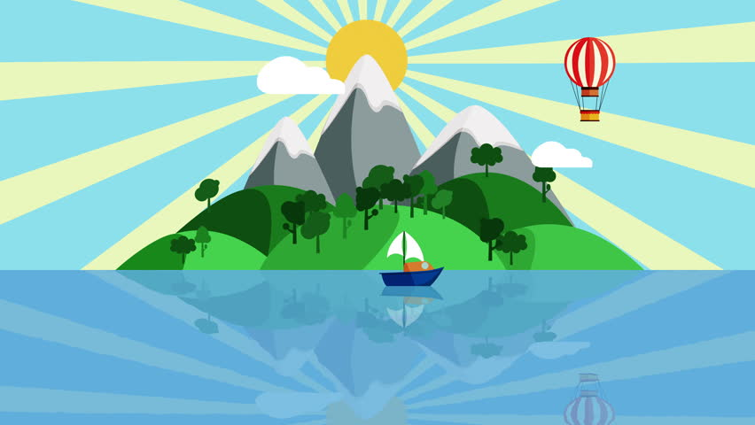 Colorful Cartoon Boat Sailing Slowly Stock Footage Video