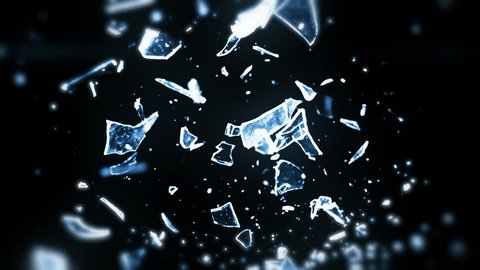 High speed camera shot of shattering glass, isolated on a black background. Can be pre-matted for your video footage by using the command Frame Blending - Multiply.