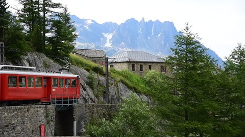 Timelapse of Beautiful View from Montenvers Mer de Glace station in summer say, Mont Blanc Massif,Chamonix,France
