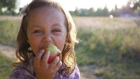 Cute little kid girl portrait stay eat chew an apple on nature sunset picnic