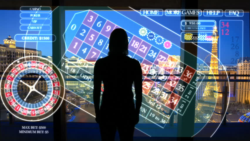 Female live betting Las Vegas casino using touchscreen technology | Shutterstock HD Video #18466879