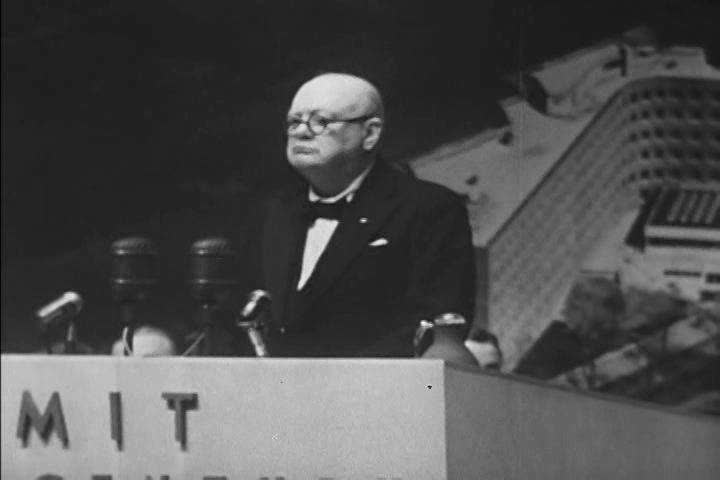 Great Britain  Winston Churchill speaks to his delegates about the continued fight for democracy in the 1950s, England (1950s)