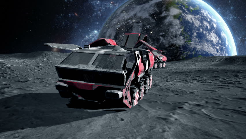 Moon rover on  the moon. space expedition. Realistic 3d animation.