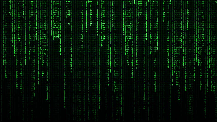 Random labyrinth characters falling down (code rain): a popular sci-fi movie effect; a symbol of obscure technology; computer source code, hacking, AI takeover.