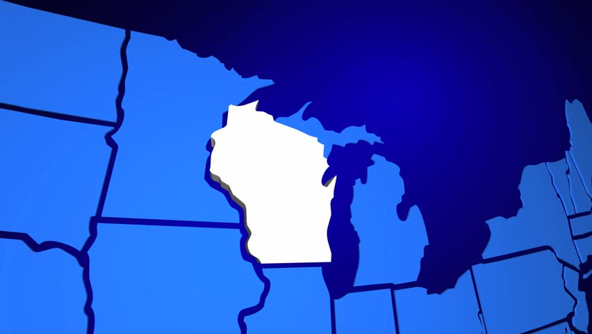 Wisconsin United States America Usa State Map 3d Animation Hd Stock Video Clip