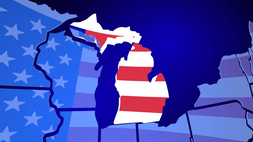 Michigan MI Animated State Map USA Zoom Close Up Stock Footage