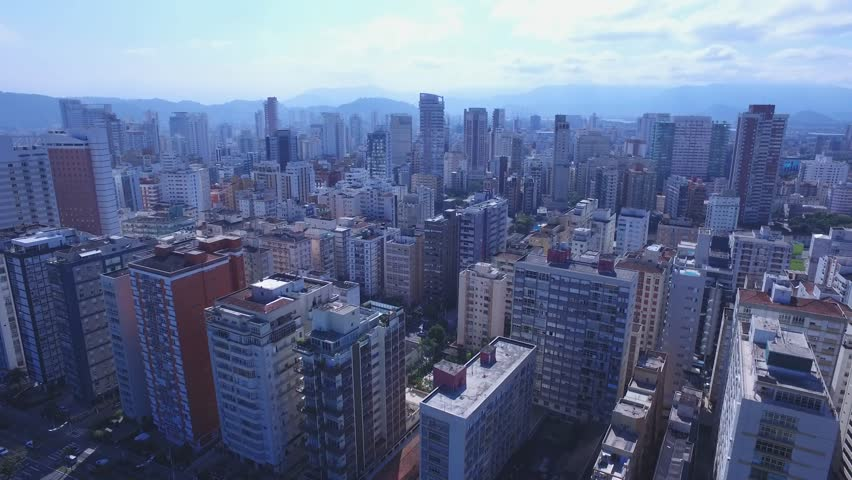 Aerial footage of the city of Santos in Sao Paulo state in Brazil. July, 2016 | Shutterstock HD Video #18494665