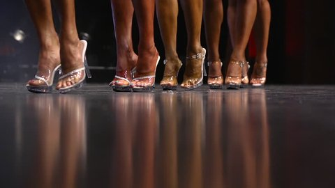 Ladies in a Beauty Pageant - Line up of women - feet only