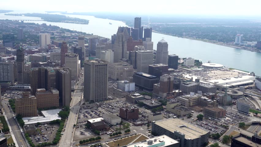 Detroit, USA AERIAL NE, river, skyline, roads, and industrial area.