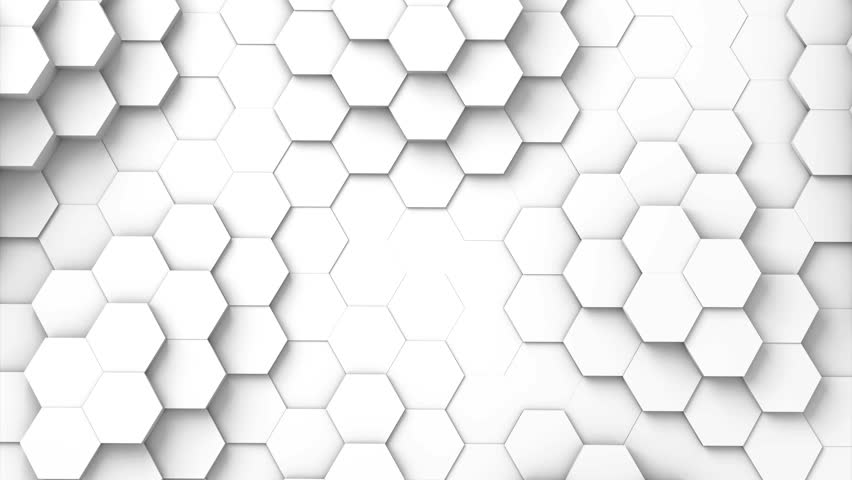 Structure of hexagons moving up and down and displacing like waves. 3D Rendering