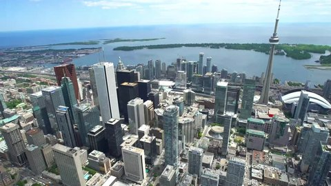 Toronto, Ontario, Canada | June 2nd 2016 4K Aerial footage of Toronto: The financial district.