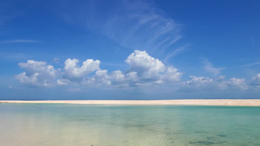 The spotless Bantayan Island white sand beach and sandbar. Presented in real time and originally shot in 4K (Ultra HD) resolution.  #18586856