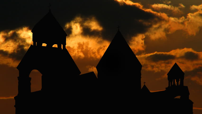 Armenia monastery of St.Echmiadzin sungliding, Mother Cathedral of Holy Etchmiadzin,a 4th century Armenian church in Ejmiatsin, Armenia. UNESCO World Heritage Sites.