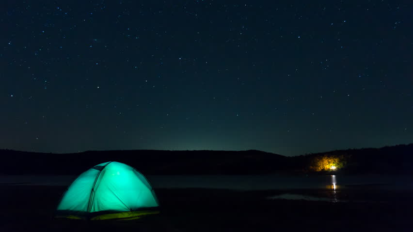 Stars Time Lapse Over Tent C&ing - 4K stock footage clip & Tent And Milky Way Timelapse Stock Footage Video 7539250 ...