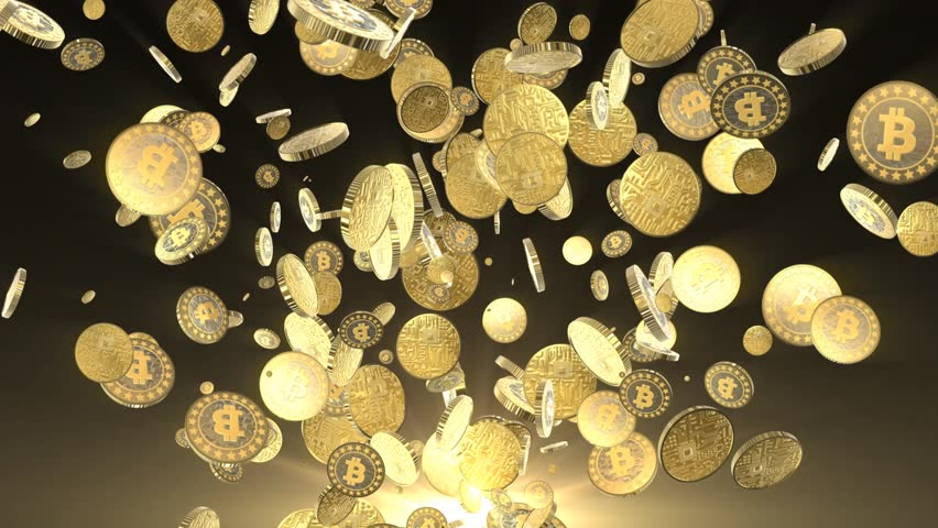 Bitcoins explosion animation for winners