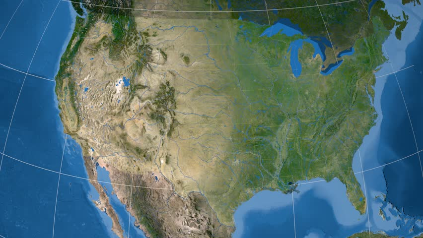 Kentucky Region Extruded On The Satellite Map Of United States - 4k us map