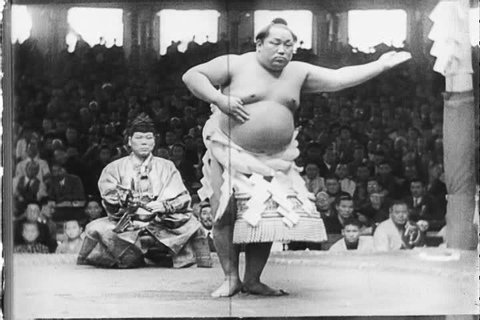Sumo, judo and fencing, national sports in Japan in the 1940s, with a mix of western sports that include, tennis, golf, horse racing and baseball. (1940s)