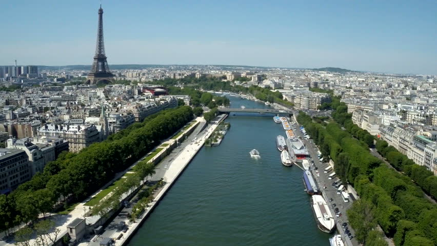 Aerial view of Paris, France with Seine River and Eiffel tower in background. | Shutterstock HD Video #18667343