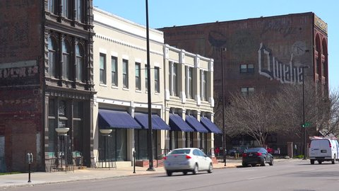 Establishing shot of downtown Omaha, Nebraska. (Omaha, Nebraska 2010s)