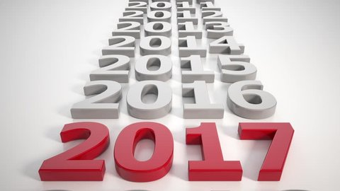 3d video render - new year 2017 timeline concept - represents the new year.
