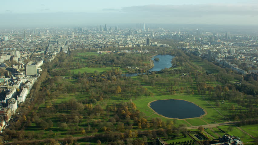Aerial view of Hyde Park London UK