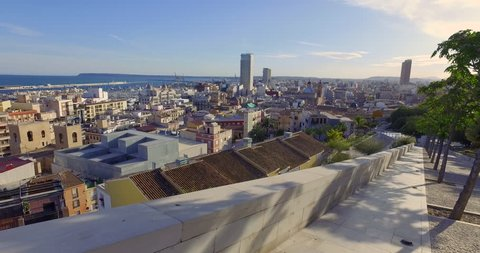 Panoramic view of Alicante city a view from Mount Benacantil with the Castle of Santa Barbara - fortification in the centre of Alicante city. Sunny winter day, Alicante,Spain