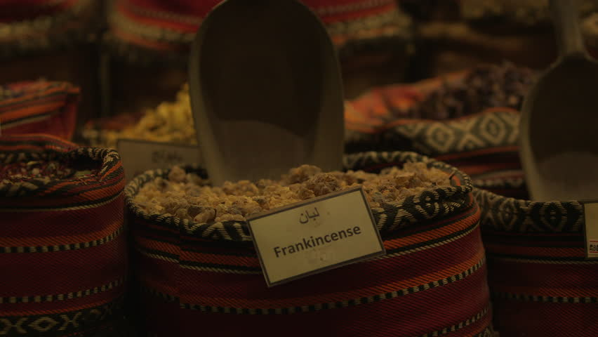 Frankincense. CU on a colourful sac of frankincense in a shop display. (Abu Dhabi, UAE-2013)
