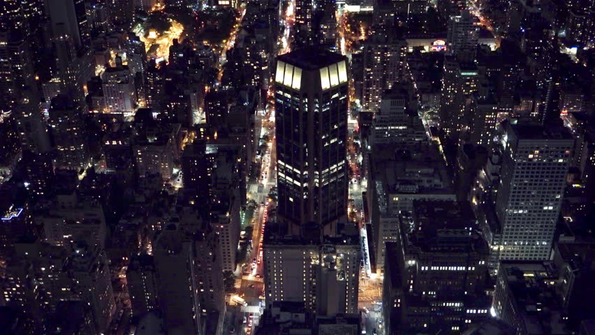 16 April 2016 New York USA: New York City Manhattan Times Square panorama aerial view at night with office building skyscrapers skyline illuminated by Hudson River. | Shutterstock HD Video #18751871