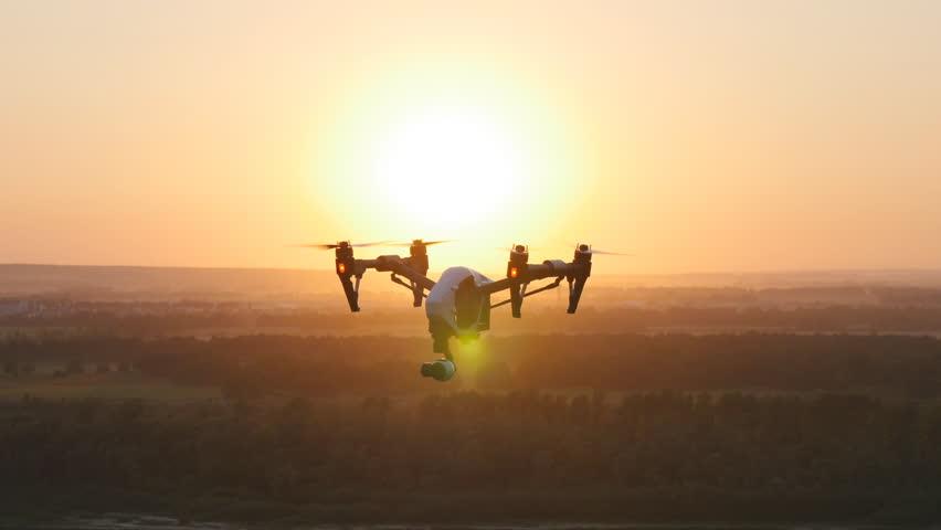 Quadrocopter drone with remote control.