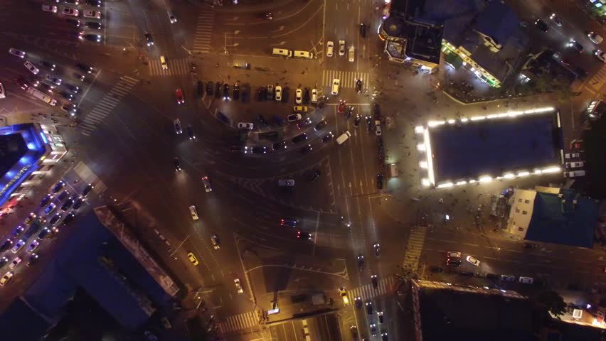 Complex road junction from above. Unique night aerial drone flight. Center of Europe modern Moscow. Evening road traffic, cars moving. High altitude footage. Best 4K video. | Shutterstock HD Video #18765761