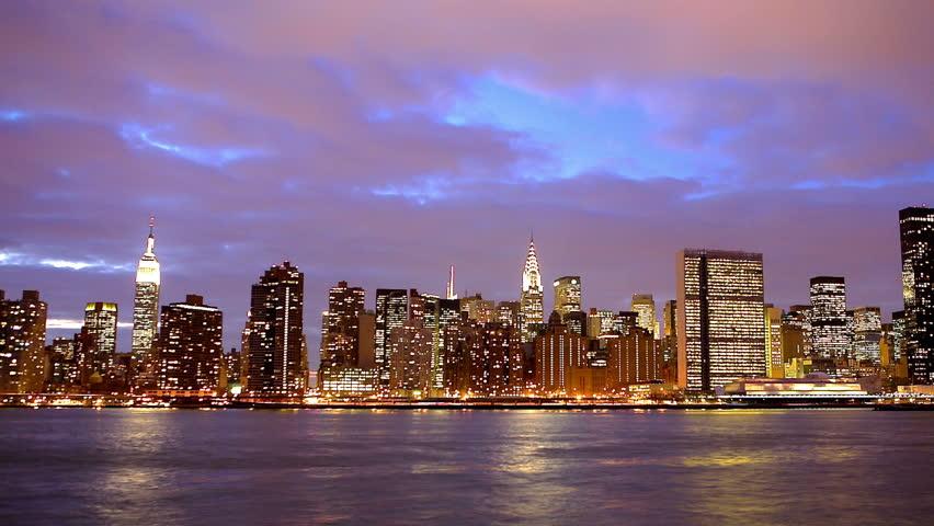 New York City Manhattan midtown skyline  at dusk time lapse