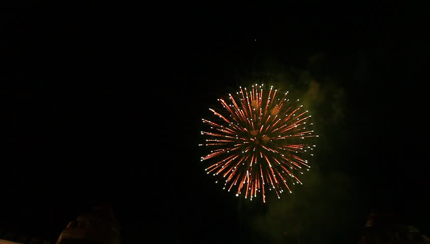 Video fireworks in the sky dark