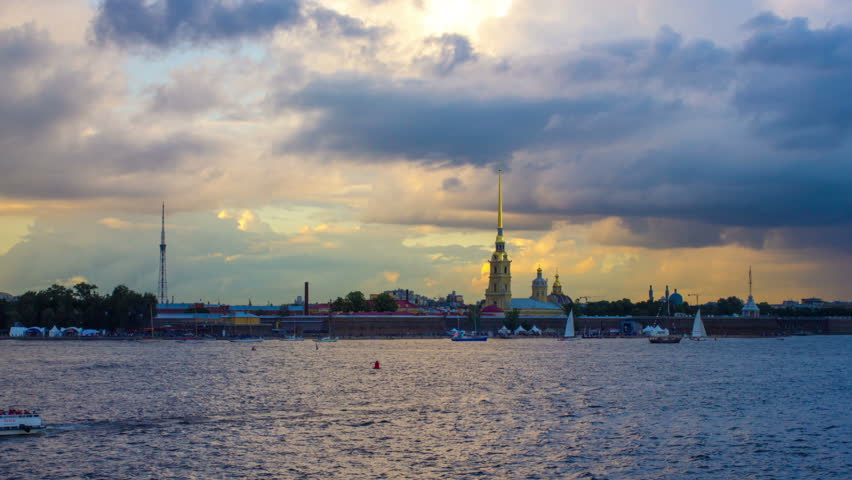 St. Peter and Paul fortress in Saint-Petersburg Russia in sunset time. Timelapse 04