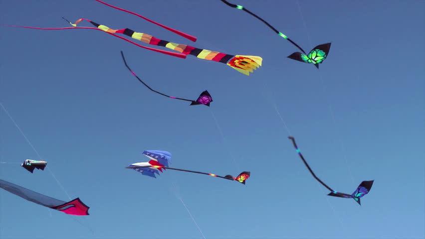 Kites flying against blue sky, Long Beach, Washington, USA