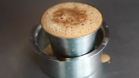 CHENNAI,INDIA - CIRCA August 2016 :Hot filter coffee in a steel glass