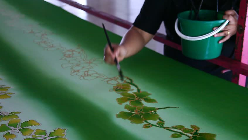 Coloring beautiful batik fabric with flower motif