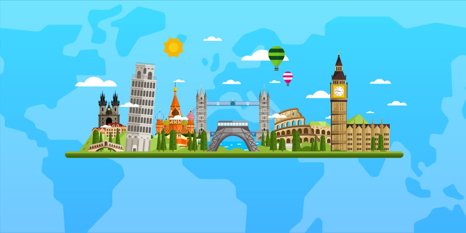 World map europe travel tour illustration animation vacation welcome to europe travel on the world concept traveling background video animation tourism gumiabroncs Images