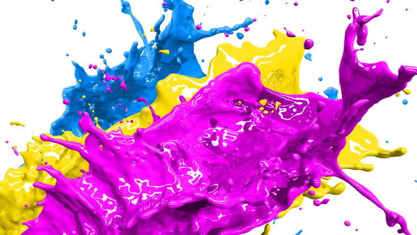 Colored paint splashes in slow motion and freeze motion HD.