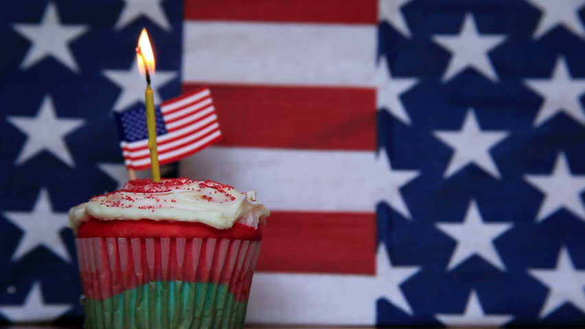 American Cake With Birthday Candle Stock Footage Video 100 Royalty