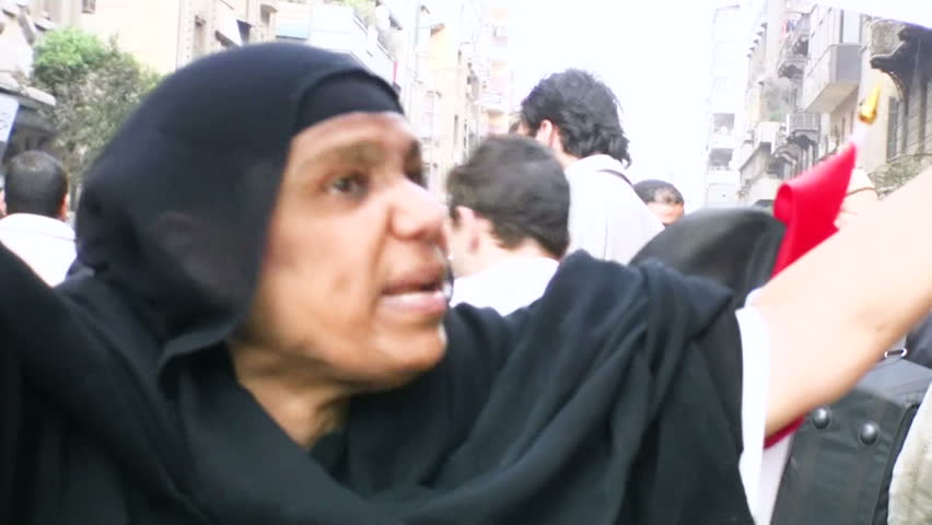 CAIRO, EGYPT - NOV 19: Woman describes her life condition after the Mubarak dictatorship in tahrir square on November 19, 2011 in Cairo.
