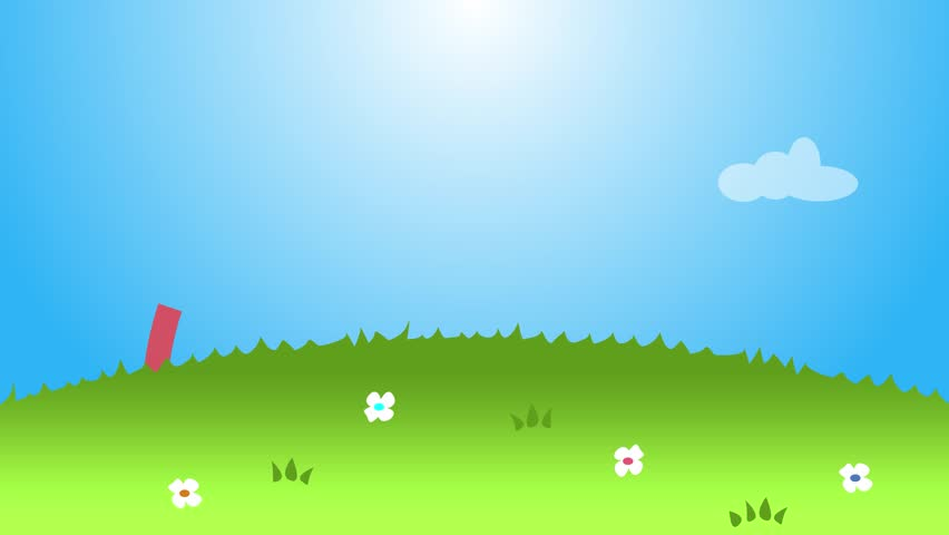 beautiful cartoon sun and puffy clouds hovering in blue