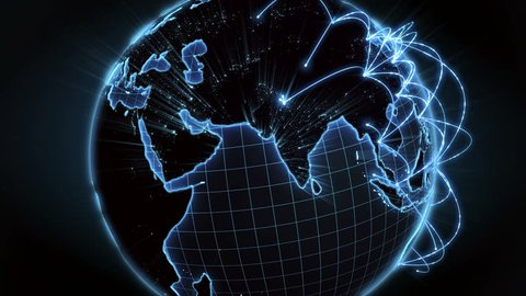 Growing network connections across the world. Internet and business concept. Global communication. Blue version. 4K