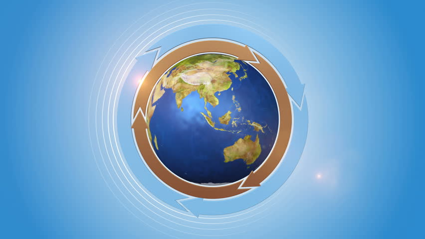 Orbiting Globe With Three Cycle Arrows. | Shutterstock HD Video #19002031