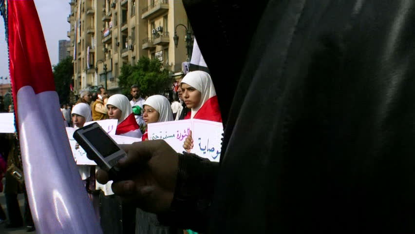 CAIRO, EGYPT - NOV 19: Women in Tahrir Square protest against military power on November 19, 2011 in Cairo, Egypt.