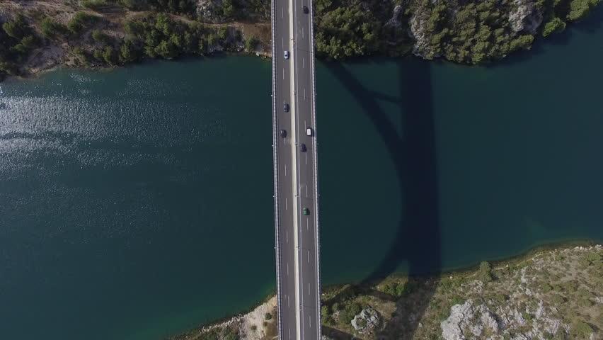 Aerial view of bridge of Croatian autobahn near Sibenik. 4K