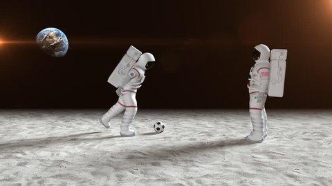 Astronauts having fun on the moon surface. Bizarre scene from the moon surface.