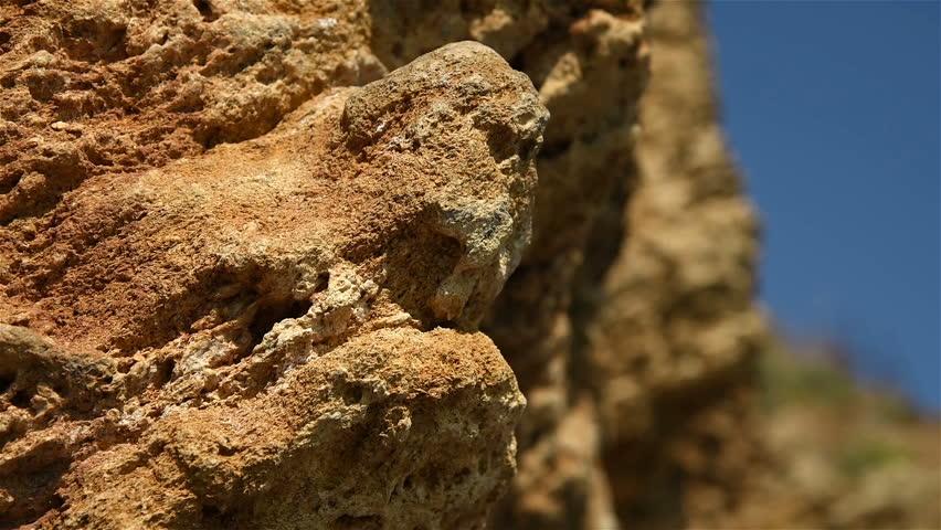 Extreme  Climber Climbs The Steep Rock, Close Up