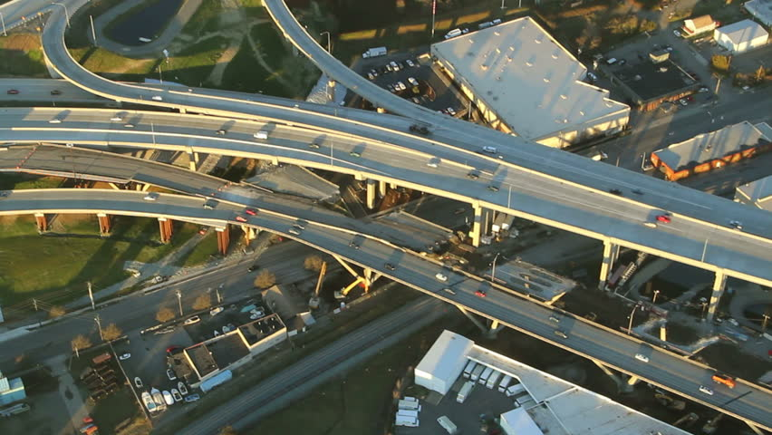 Close-up view of cars in interstate junction