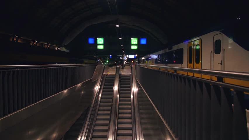 Last Train Leaving Amsterdam Station leaving nobody | Shutterstock HD Video #19136941